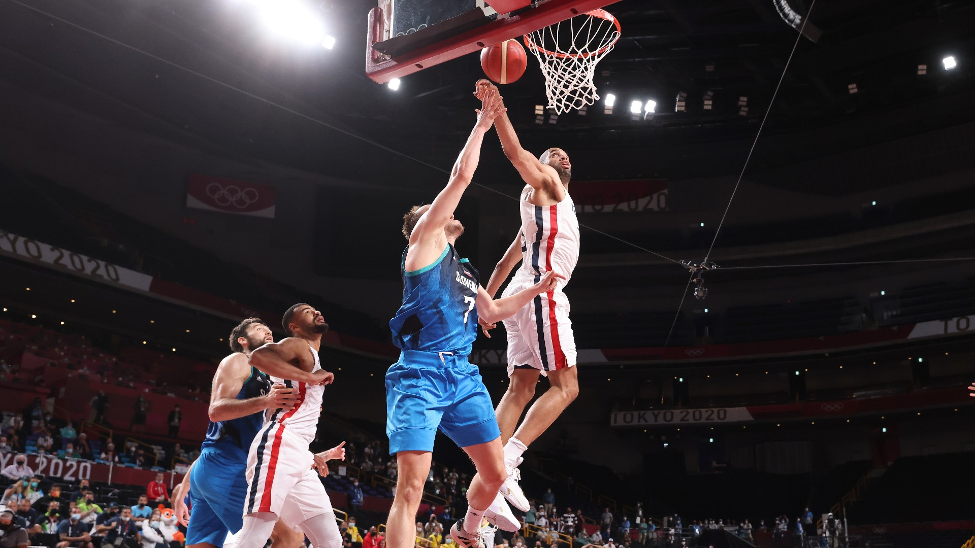 nicolas batums late block stuns luka doncic slovenia as france advances to olympic gold medal game